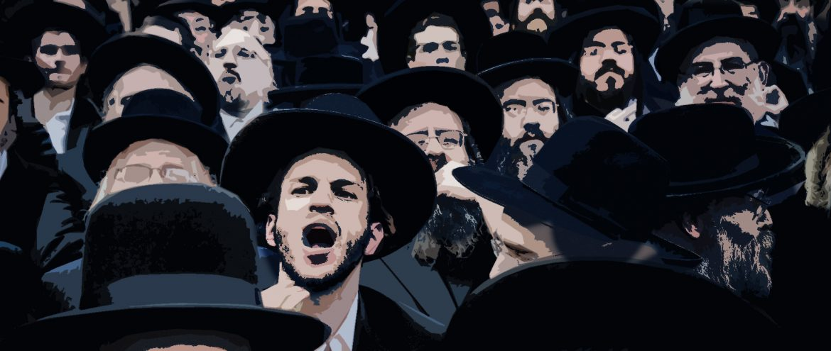 ultraorthodox Jewish rally in Foley Square and march around Chinatown  Manhattan NY, against the secularization and army service conscription for Haredi Jews in Israel. photo by Stefano Giovannini