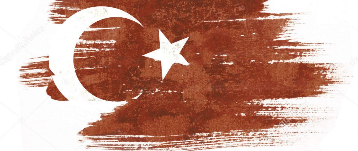Art brush watercolor painting of Turkish flag blown in the wind isolated on white background.