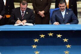 Mandatory Credit: Photo by Maurizio Brambatti/EPA/Shutterstock (8145677a) Turkish Prime Minister Tayyip Erdogan (l) and Foreign Minister Abdullah Gul Sign the European Constitution For Their Country on Friday 29 October 2004 in the Horatii and Curatii Hall at the Campidoglio Hall in Rome Italy Italy Roma Italy Eu Constitution Signing Erdogan Gul - Oct 2004